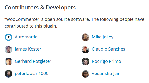 A WordPress plugin contributors and developers list section